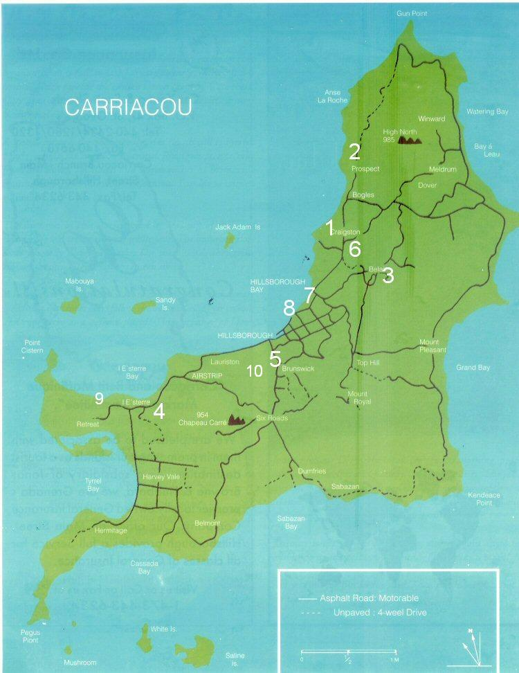 Map of Carriacou, Grenada